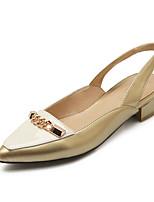 Chaussures Femme-Décontracté-Jaune / Argent / Or-Gros Talon-Talons / Bout Pointu-Talons / Mocassins-Cuir Verni