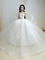 Poupée Barbie-Blanc-Mariage-Robes- enOrganza / Dentelle