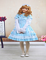 Steampunk®Blue Cross Strap Lace Cotton Sweet Lolita Dress