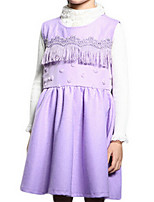 Girl's Purple / Red Dress,Ruffle Polyester Summer / Spring