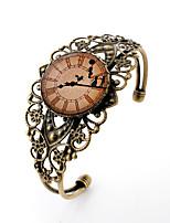 Lureme® Vintage Jewelry Time Gem Series Clock with Dancer Antique Bronze Hollow Flower Open Bangle Bracelet for Women