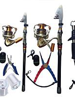 Canne téléscopique(Noir / Blanc / Argent / Dos noir doré,Plastique dur / Nylon / Aluminium / EVA / Acier inoxydable/fer)Pêche en mer /