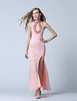 Formal Evening Dress-Blushing Pink Trumpet/Mermaid V-neck Ankle-length Lace / Tulle
