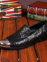 Men's Shoes Amir Pure Manual Black Flash Stage Show Wedding / Evening Party Comfort Cowhide Leather Loafers