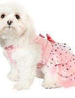 Dog Dress Green / Pink Winter / Summer / Spring/Fall Bowknot / Stars Fashion