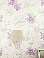 PALUTON Floral Wallpaper Contemporary Wall Covering,Non-woven Paper Warm Pastoral Peony