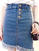 Women's Causal Solid Asymmetrical Hem Above Knee Skirts
