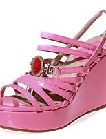 Women's Shoes Leather Wedge Heel Wedges / Platform / Gladiator Sandals Wedding / Party & Evening / Dress Black / Pink