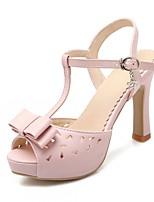 Calçados Femininos-Sandálias-Peep Toe-Salto Agulha-Verde / Rosa / Branco-Courino-Casamento / Escritório & Trabalho / Festas & Noite