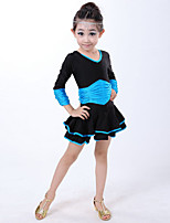 Latin Dance Dresses Children's Performance Spandex Draped 1 Piece Blue / Fuchsia / Red
