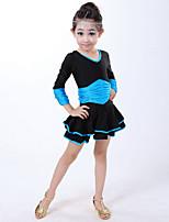 Latin Dance Dresses Children's Performance Spandex Draped 1 Piece Blue / Fuchsia / Red