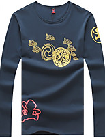 Men's Long Sleeve T-Shirt,Cotton / Spandex Casual Print