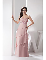 Formal Evening Dress-Pearl Pink Sheath/Column Strapless Floor-length Chiffon / Charmeuse