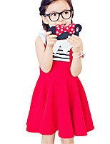 Girl's Cotton Summer Stripes Color Matching False Two Pieces Dress