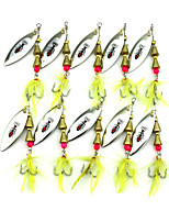10Pcs Hengjia Spoon Metal Spinner Baits 6g #6 Hook Fishing Lures Random Colors