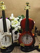 Colorful Desktop Plastic Clock Needle Alarm Clock Violin clock Mini Quartz(Random Color)