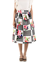 Boutique G Women's Floral White Skirts,Cute Knee-length