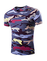 Men's Fashion Camouflage Round Collar Slim Fit Short Sleeve T-Shirt, Cotton /Polyester