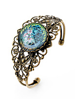 Lureme® Vintage Jewelry Time Gem Series Flower Antique Bronze Hollow Flower Open Bangle Bracelet for Women