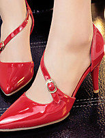 Women's Shoes Patent Leather/Stiletto Heel D'Orsay & Two-Piece/Pointed Toe Heels Party & Evening/Dress Black/Red