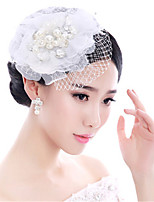 Women's / Flower Girl's Lace / Pearl / Tulle Headpiece-Wedding / Special Occasion Fascinators 1 Piece