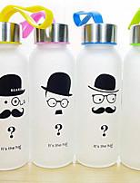 1pc barbe créative verre dépoli 300 ml sports de plein air bouteille d'eau portable (style aléatoire)