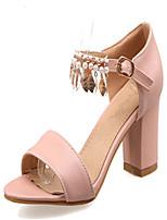 Women's Shoes Chunky Heel Open Toe Sandals Dress Blue / Pink / Almond