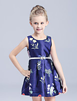Girl's Blue Dress,Print Cotton Summer