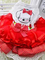 Cães Vestidos Vermelho / Verde / Amarelo Verão / Primavera/Outono Clássico / Bolinhas / LaçoCasamento / Aniversário / Natal / Ano Novo /