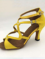Customizable Women's Dance Shoes Latin Satin Stiletto Heel Yellow