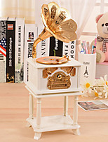 Phonograph Shape For Elise Music Box Plastic White / Gold