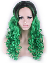 COSPLAY Black Mixed Green Long Curly Hair Synthetic Wig