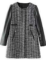 Women's Plaid Black Coat,Simple / Street chic Long Sleeve PU / Cotton