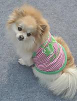 Cães Colete / Roupa / vestuário Verde / Rosa / Laranja Verão / Primavera/Outono Riscas / Carta e Número Listrado / Da Moda-Lovoyager
