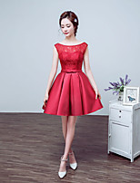 Cocktail Party Dress-Ruby / Champagne A-line Jewel Short/Mini Lace / Satin