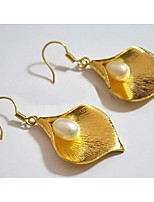High quality gold Lily Pearl Earrings long