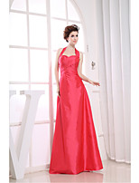 Dress-Watermelon Sheath/Column Halter Floor-length Taffeta