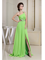 Formal Evening Dress-Lime Green Sheath/Column One Shoulder Floor-length Chiffon