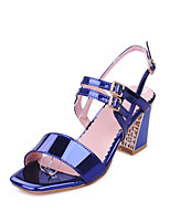 Women's Shoes Patent Leather Chunky Heel Heels / Peep Toe Sandals Casual Blue / Pink / Red / Silver