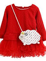 Vestido Chica de-Verano / Primavera-Algodón-Azul / Rosa / Rojo