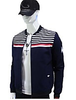 Men's Long Sleeve Jacket , Cotton Casual / Work / Formal / Sport Striped / Plaids & Checks / Pure / Color Block