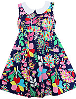 Girl's Dress Flower Print Belt Party Holiday Cute Baby Kids Clothing Dresses