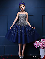 Cocktail Party Dress-Dark Navy Ball Gown Sweetheart Tea-length Tulle