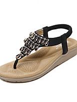 Chaussures Femme-Habillé-Noir / Amande-Talon Compensé-Compensées / A Plateau / A Bride Arrière-Sandales-Similicuir