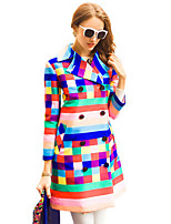 Women's Rainbow Multi-color Trench Coat,Simple Long Sleeve Polyester