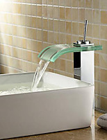 Bathroom Sink Faucet-Contemporary-Waterfall-Brass(Chrome)