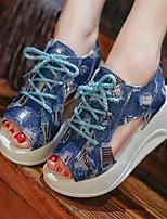 Women's Shoes Denim Platform Peep Toe / Creepers Sandals Outdoor / Casual Blue