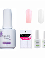 ILuve Franch Gel Nail Polish With Top And Base Coat,Pack Of 4 With Sticker,Long Lasting Soak Off UV Led Gel Varnish #02