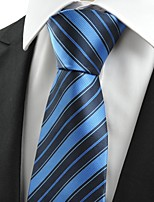 KissTies Men's New Striped Dark Blue Microfiber Tie Necktie For Wedding Holiday With Gift Box