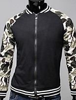 Men's Long Sleeve Jacket,Polyester Casual Patchwork